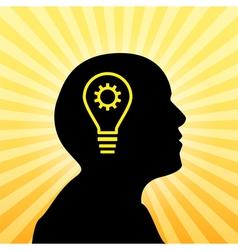Human silhouette with idea icon vector