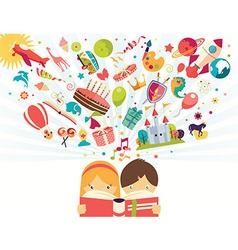 Imagination concept boy and girl reading a book vector image