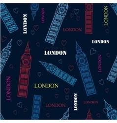 London Big Ben Tower Dark Blue Seamless vector image
