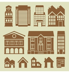 set of houses icons vector image