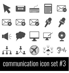 communication icon set 3 gray icons on white vector image vector image