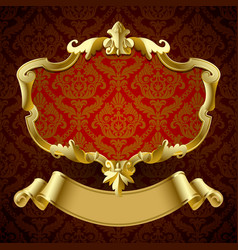 gold vintage framed decorative signboard with vector image