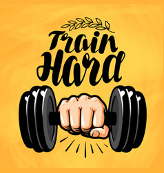 hand with dumbbell gym fitness sport label vector image vector image
