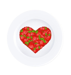 Heart From Strawberry On Plate vector image