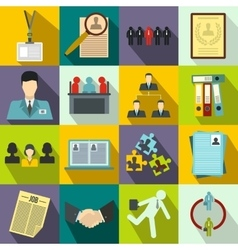 Office teamwork icons set flat style vector image vector image