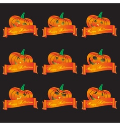 Orange halloween carved pumpkins and banners set vector
