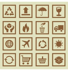 set of package signs and symbols vector image vector image