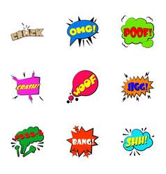 trendy phrase icons set cartoon style vector image