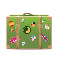 vintage travel suitcase vector image vector image
