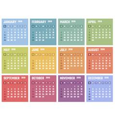 calendar for 2018 starts sunday calendar vector image