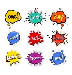 Comic speech bubble set on white background vector image