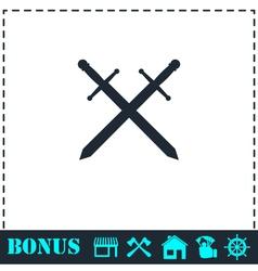 Cross swords icon flat vector