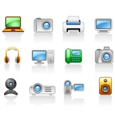 electronics computers multimedia icon set vector image vector image