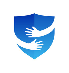 hands and shield logo abstract logo design vector image vector image