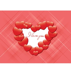 red romantic card - I love you vector image