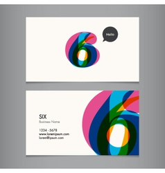 business card with number 6 vector image