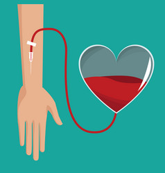 hand donor heart blood vector image vector image