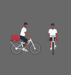 smiling delivery man riding bicycle male cyclist vector image vector image