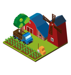 3d design for farm scene with barns and crops vector