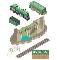 3d isometric retro railway with steam locomotive vector image