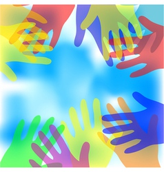 abstract hands against a blue sky vector image