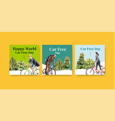 advertise template with world car free day vector image