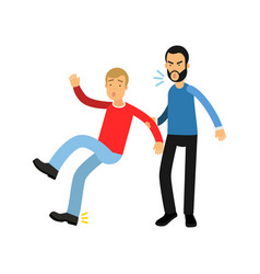 Aggressive bearded man grabbed young guy hand vector