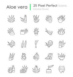 Aloe vera pixel perfect linear icons set natural vector