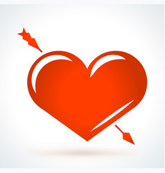 arrow piercing heart st valentines day design vector image