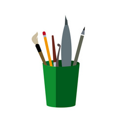 art and back to school supplies paint brushes vector image