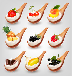 Big collection of fruit and yogurt in spoon vector