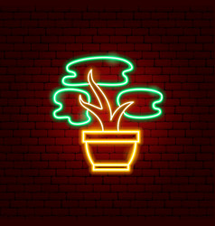 bonsai tree neon sign vector image