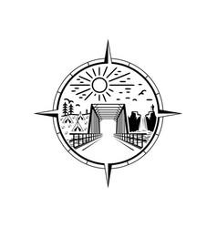 bridge emblem logo design vector image