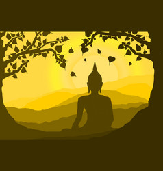 Buddha statue under the bodhi sacred fig vector