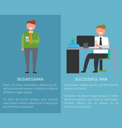 Businessman and successful man posters with text vector