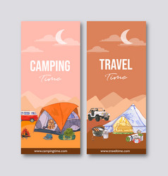 Camping flyer design with tent van backpack vector