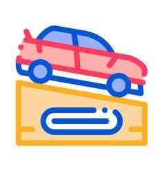 car on pedestal icon outline vector image