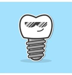 Cartoon dental implant vector