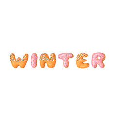 Cartoon donut and word winter hand drawn drawing vector
