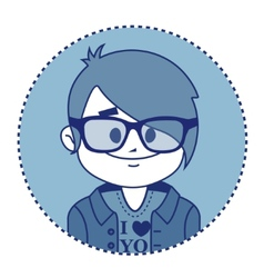 Character smiling hipster with glasses vector