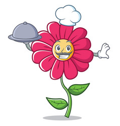 chef pink flower character cartoon vector image