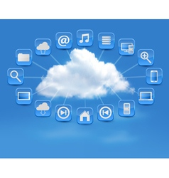 Cloud Computing concept background with icons vector