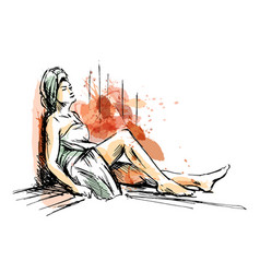 Colored hand sketch woman in sauna vector