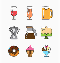 Colorful flat icons with of food vector
