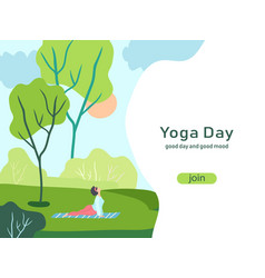 Colorful poster for yoga international day flat vector