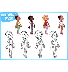 Coloring Page Four boys in stylish outfits vector