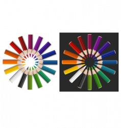 Colour pencils in circle vector