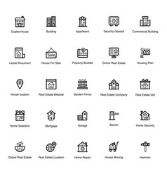 Construction line icons pack vector