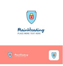creative protected shield logo design flat color vector image