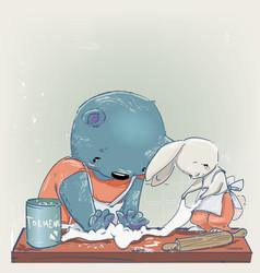 cute cartoon teddy bear with little white hare vector image